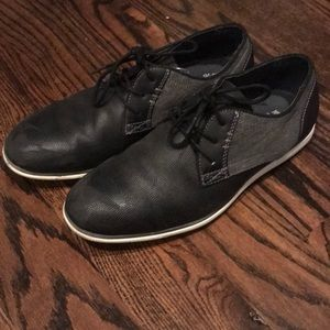 Black and gray dress shoes